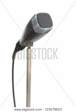 Vintage microphone on white background 3D rendering