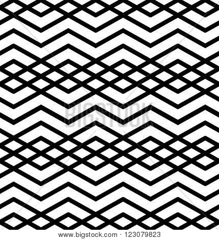 Symmetric monochrome textile endless pattern with rhombs continuous elegant black and white intertwine geometric background. Classic zigzag contrast texture.