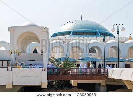 Jeddah, Saudi Arabia - November 20, 2008: Local people in the Sea Mosque on the Corniche area.