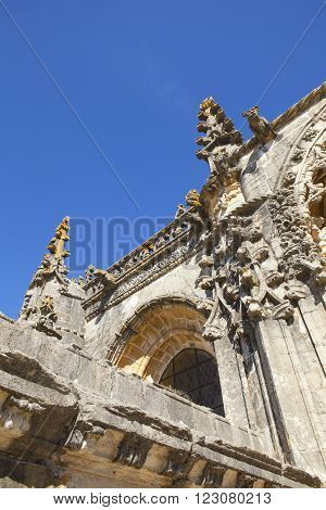 Detail of Chapter House, Templar Castle and the Convent of the Knights of Christ, founded by Gualdim Pais in 1160 AD, is a Unesco World Heritage Site in Tomar, Portugal.