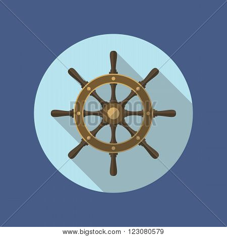 Boat's wheel vector icon inside the circle. Flat design. EPS10 vector illustration.