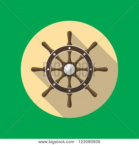 Ship's or boat's steering wheel vector flat icon inside the circle.