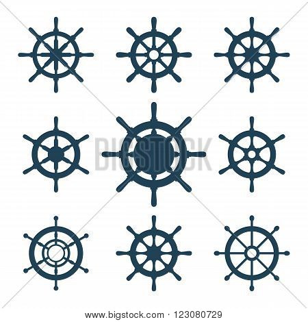 Boat's wheels vector icons set. Collection of 9 vector silhouettes of ship's steering wheels. EPS8 illustration.