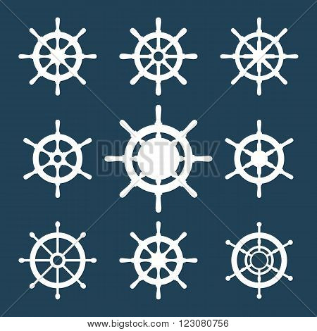 Ship's wheels vector icons set. Collection of 9 vector silhouettes of boat's steering wheels. EPS8 illustration.