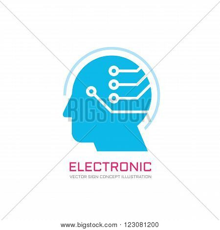 Digital human vector logo concept illustration. Creative idea dea logo. Human head logo icon. Learning logo. Human chip logo. Innovation logo. New technology logo. Modern communication logo. Manager.