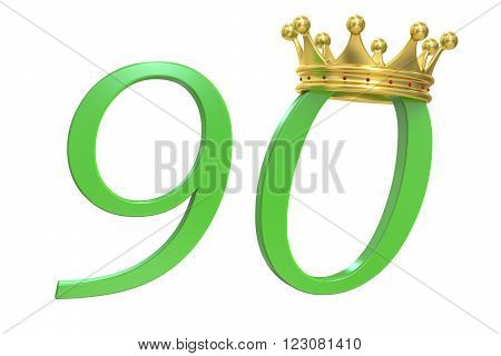 90 years concept with crown 3D rendering