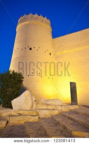 Riyadh, night view of the Masmak Fortress (XIX century) in the old city center