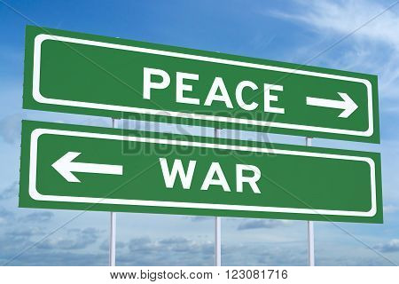war or peace concept on the road signpost, 3D rendering