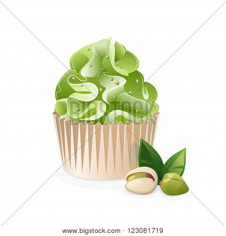 Cupcake icon isolated on a white background. Pistachio cake with cream. Icon cake and pistachio nuts. Vector illustration.