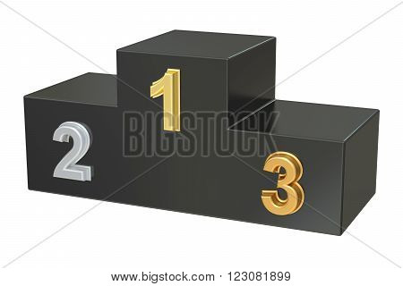 Winners Podium 3D rendering isolated on white background