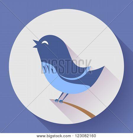Bird singing vector icon. Flat design style.
