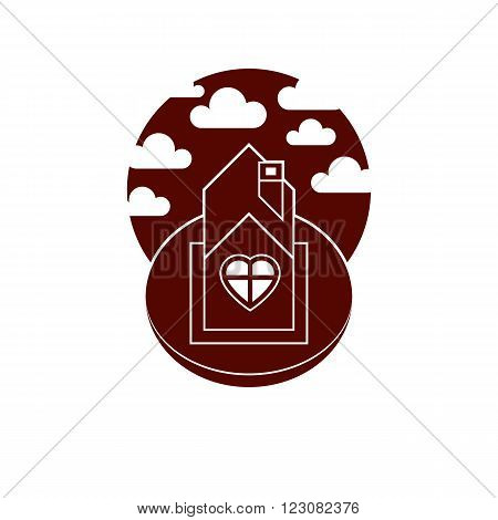 Country house front view with heart symbol. Conceptual family theme vector illustration harmony at home.