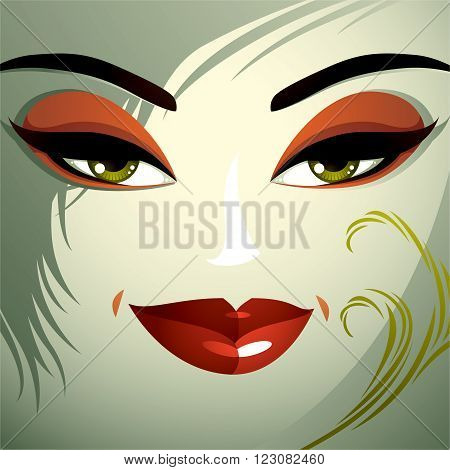 Emotional expression on the face of a cute girl. Beautiful tricky woman with a modern makeup and stylish hairdo with locks.