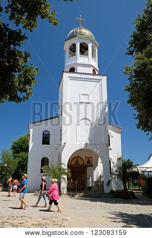 SOZOPOL BULGARIA - JULY 19: Church of Saints Cyril and Methodius on July 19 2015 in town of Sozopol Bulgaria. Sozopol is one of popular seaside resorts in Bulgaria.