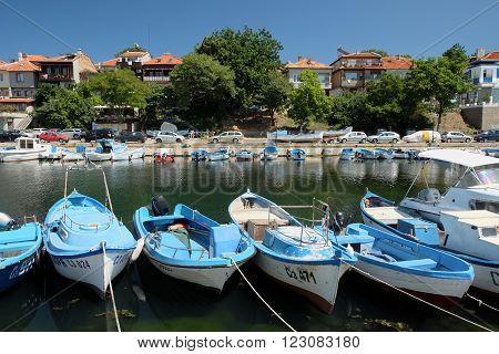SOZOPOL, BULGARIA - JULY 19: View on street Kraybrezhna and boats on July 19, 2015 in town of Sozopol, Bulgaria. Sozopol is one of popular seaside resorts in Bulgaria.
