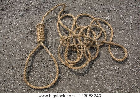 Noose, loop of rope on road. Loop hempen rope on a road background. Classic loop knot on road background