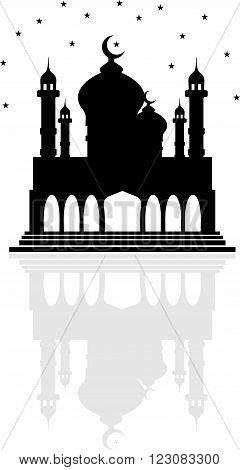 Religion mosque with Crescent moon and stars and a reflection of the two domes