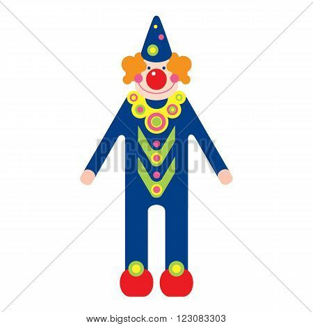 fun clown on white background. vector illustration.