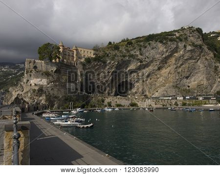 Medieval castle of the Maiori city in Amalfi coast in Italy.