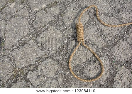 Noose, loop of rope on stone road. Loop hempen rope on a stone road background. Classic loop knot on stone road background