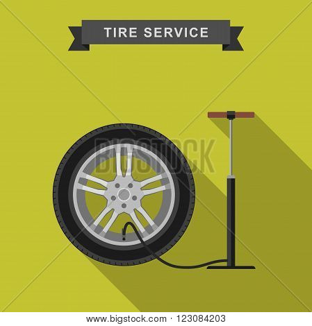Tire service flat illustration with long shadow. Vector simple icons of tire and pump.