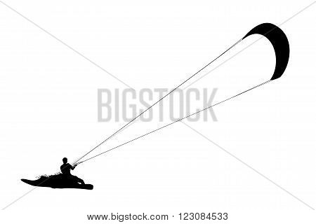 Kitesurfing black silhouette. Man riding wakeboard with kite.