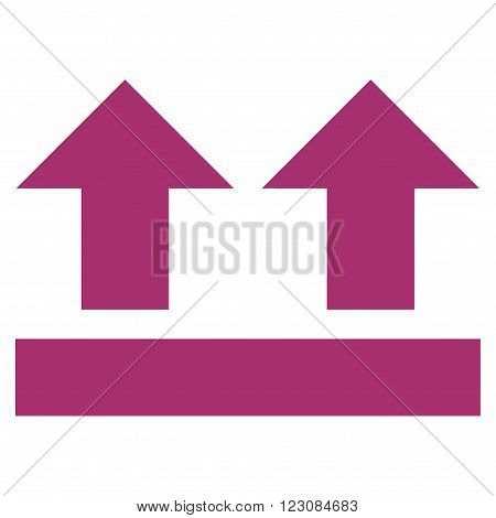 Bring Up vector icon. Style is flat icon symbol, purple color, white background.
