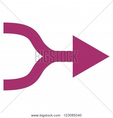 Combine Arrow Right vector icon. Style is flat icon symbol, purple color, white background.