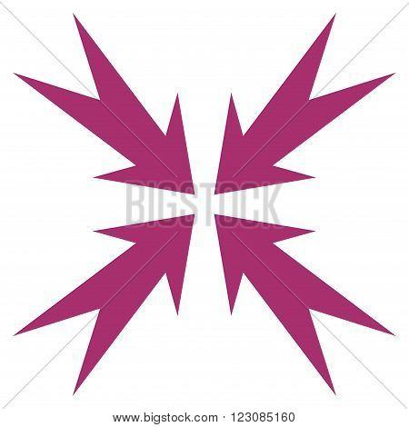 Compression Arrows vector icon. Style is flat icon symbol, purple color, white background.
