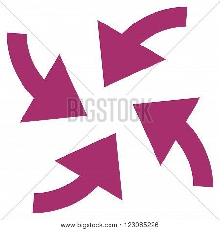 Cyclone Arrows vector icon. Style is flat icon symbol, purple color, white background.