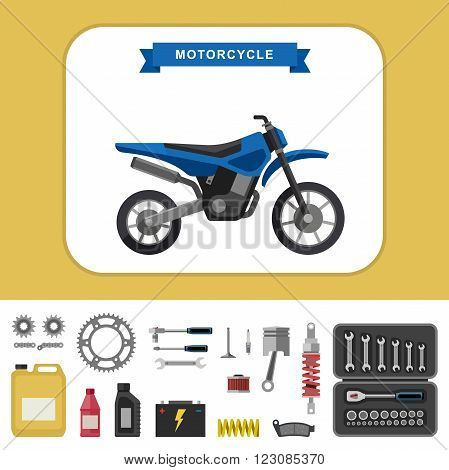 Motorcycle with parts in flat style. Vector simple illustration of motocross bike with moto parts and tools icons.