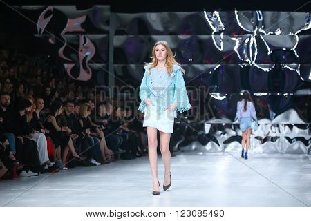 ZAGREB, CROATIA- MARCH 16: Fashion model wearing clothes designed by Robert Sever on the Bipa Fashion.hr fashion show on March 16,2016 in Zagreb, Croatia