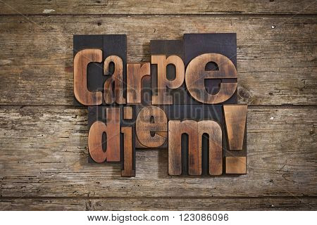 carpe diem, phrase set with vintage letterpress printing blocks on rustic wooden background