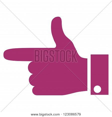 Hand Pointer Left vector icon. Style is flat icon symbol, purple color, white background.