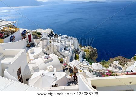 OIA, SANTORINI, GREECE - AUGUST 22, 2015: View on caldera of Santorini island from Oia village at Santorini island