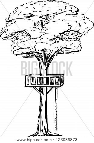 Outlined Treehouse Deck In Tree