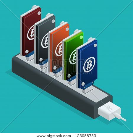 Bitcoin mining USB devices in a row. Flat 3d isometry isometric online mining bitcoin concept. Bitcoin mining equipment