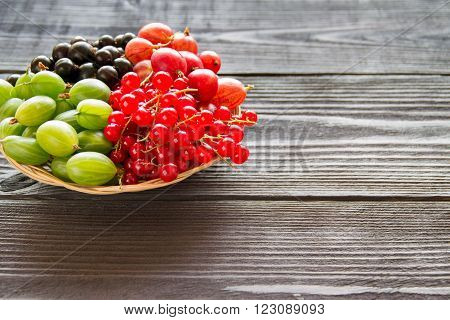 Fresh Sweet Berry In A Basket On Wooden Background.