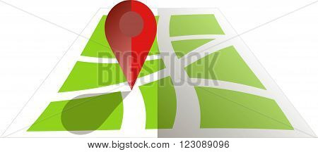 Stylised green map with red GPS dot. Flat design, object on white, design element, vector