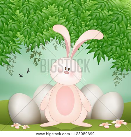 illustration of funny rabbit with Easter eggs