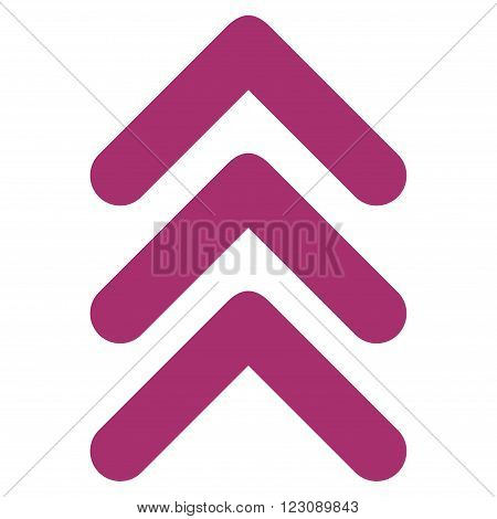 Triple Arrowhead Up vector icon. Style is flat icon symbol, purple color, white background.