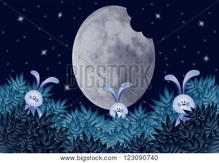illustration of three Funny rabbits eating moon