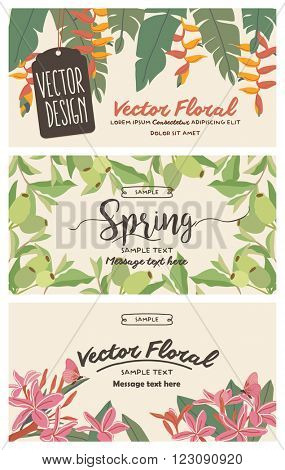Set of banners with floral backgrounds 1