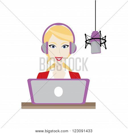 Female blonde Disc Jockey work in radio station