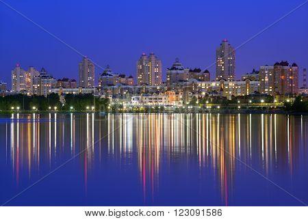 Obolon embankment of the Dnieper River in Kyiv in the evening. Kiev Capital of Ukraine