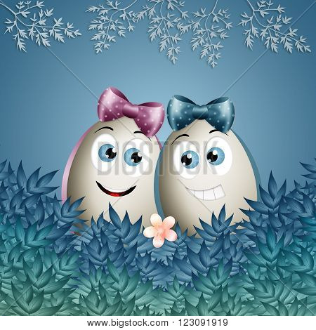 Funny illustration of Easter eggs in love