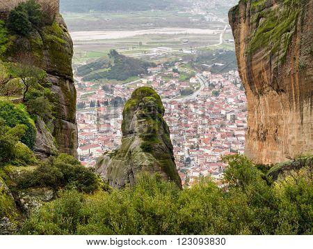 Kalabaka Town Under Meteora In Greece