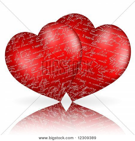 "Two Red Hearts With ""i Love You"" In Different  Languages"