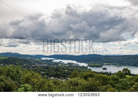 An aerial View of Windermere Lake. English Lake District National Park, Cumbria, UK