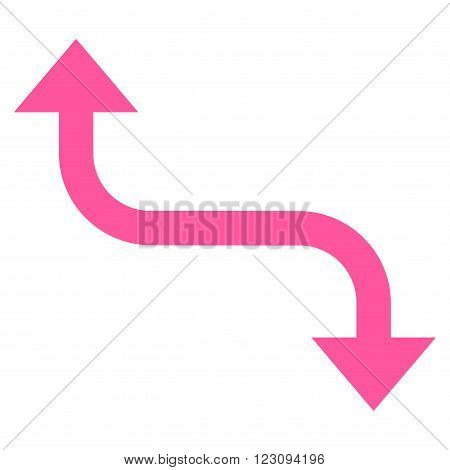 Opposite Bend Arrow vector icon. Style is flat icon symbol, pink color, white background.